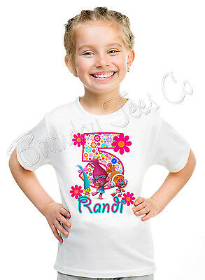 Trolls Birthday Shirt Personalized  Name and Age Poppy Custom Shirt