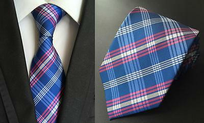 Blue, Pink and White Handmade Patterned 100% Silk Tie