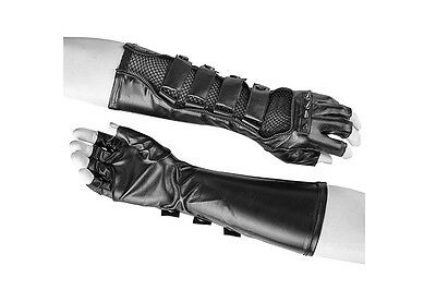 Punk Rave Fingerless long gloves with spikes mesh and straps gothic black S-214