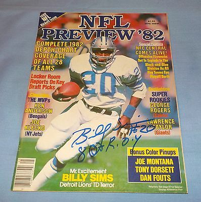 Detroit Lions Billy Sims Signed Autographed NFL Preview Magazine 1982 No Label