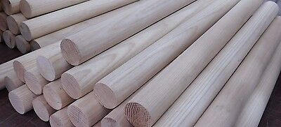 "NEW (LOT OF 5!) 36"" x 1-1/4"" ROUND WOODEN HARDWOOD BIRCH DOWEL ROD SANDED NC"