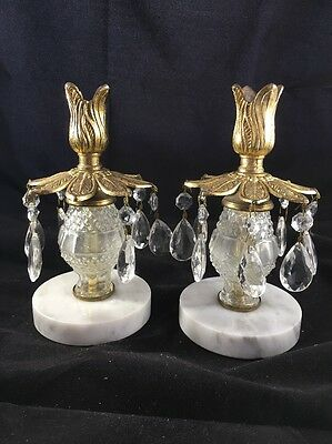Pair Antique Brass Marble Candelabra, Crystal Prisms Candle Holders 8""