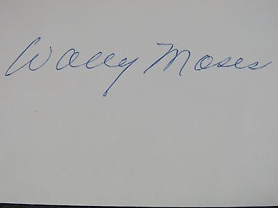 Wally Moses batted and threw left-handed Signed Autograph 3X5 Index JSA #251 jh