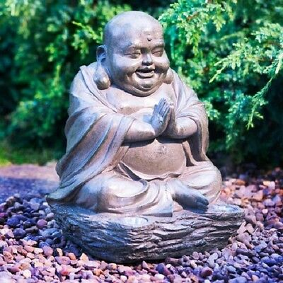 Garden Laughing Buddha Ornament Solar Light Up Large Outdoor Indoor Stone Effect