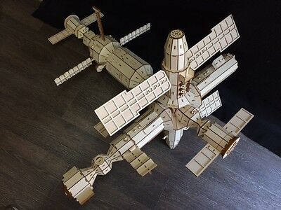 Huge Wooden MIR Space Station Laser Cut Model/Puzzle Kit