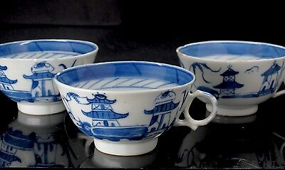 Antique 18th Century Chinese Export Blue Canton 3 (Three) Tea Cups