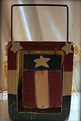 "4th of July Patriotic Wooden Box or Planter with Metal Handle 8""T x 6.25"" Square"