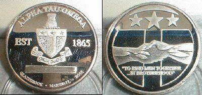 ALPHA TAU OMEGA SILVER COMMEMORATIVE COIN w/display case...1 OUNCE PURE SILVER