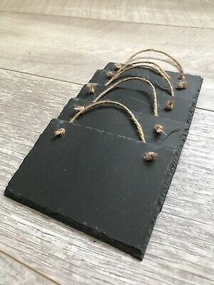 X5 Handmade Natural Slate Hanging 12x8cm Chalkboards Shabby Chic Message Memo