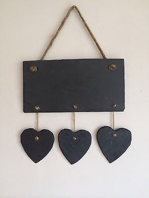 Handmade Slate Chalkboard With 3 Hearts Shabby Chic Memo Message Weddings