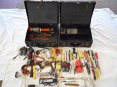 Vintage Bell System Lineman's Tool Repair Kit Case Box Two Western Klein Drill