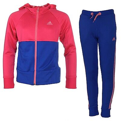 adidas girls blue/pink tracksuit. Jogging suit. Warm up suit. Various sizes!