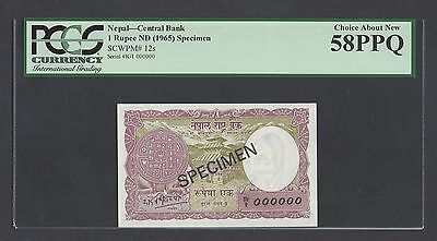 Nepal One Rupee ND(1965) P12s Specimen Uncirculated
