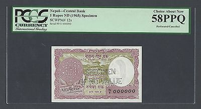 Nepal One Rupee ND(1965) P12s Specimen Perforated Uncirculated