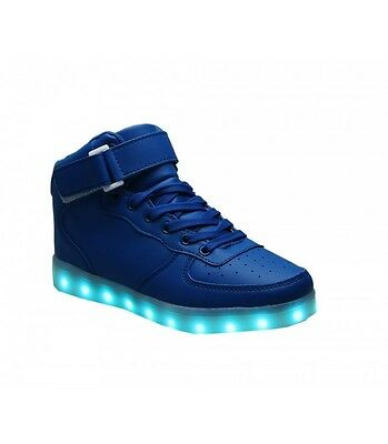 Women Light Up Shoes USB LED Sneakers Rechargable Blue High Tops
