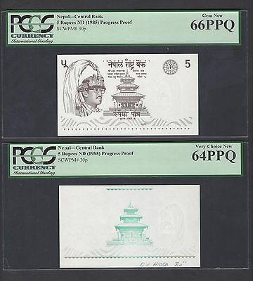 Nepal 2 Proofs 5 Rupees ND(1985) P30p Uncirculated