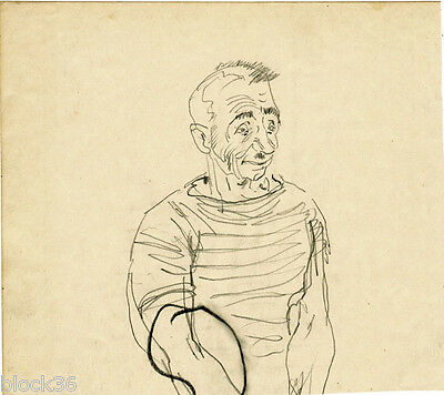 MAN'S CARICATURE PORTRAIT drawing by Russian artist Nikolai Sheberstov