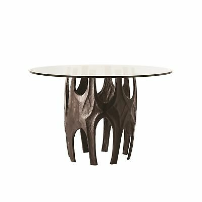 """48"""" Round Accent Table Aluminum Glass Marble Antique Bronze Clear White Black Cl"""