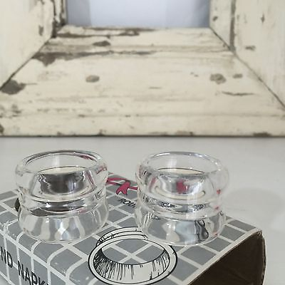 BOXED Set of SIX Clear VINTAGE Napkin RINGS Fab Table