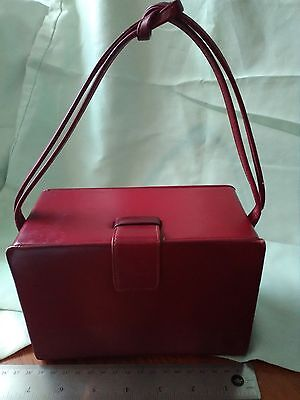 1940-50s Vintage THEODOR CALIFORNIA Handbag BOX RED STRAP TIED Leather PURSE