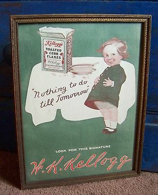 Antique 1912 W.K KELLOGG TOASTED CORN FLAKES Advertising Framed Ad