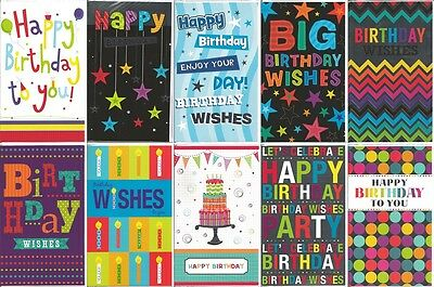 Pack of 10 General Birthday Cards Male or Female Boy or Girl Man or Woman JGB001