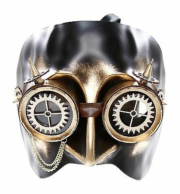 Gold Loki Steam Punk Skull Mask Masquerade Costume Halloween Victorian Rock Goth