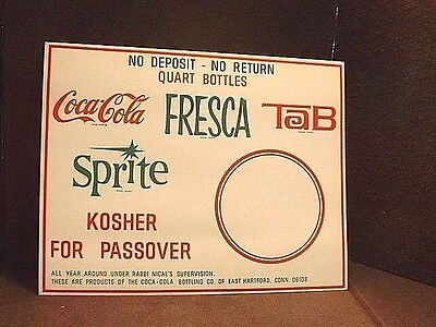 Vintage Coca Cola Fresca Tab Sprite Passover Cardboard Advertising Sign