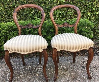 two victorian balloon back chairs