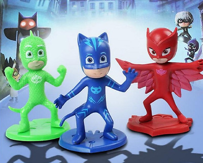 3 x PJ Masks Kids Birthday Party Toy Cake Cupcake Decoration Topper