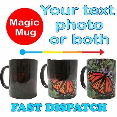 Personalised Magic Heat Colour Changing Mug Cup Image Text Photo Collage Gift
