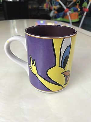 1998 Warner Brothers Looney Tunes Tweety Bird Gibson Coffee Mug Purple Yellow
