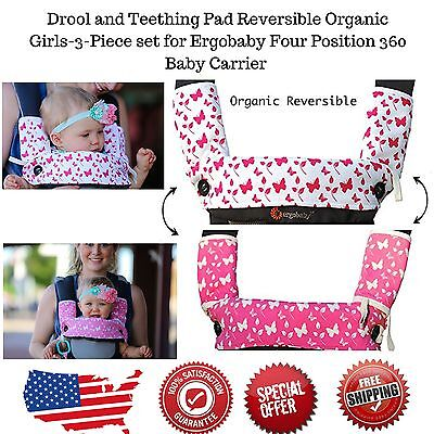 Drool & Teething Pad Reversible Organic Cotton 3 Set For Ergobaby Baby Carrier