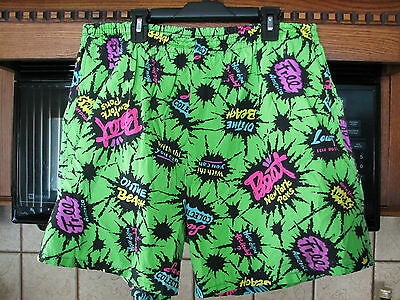 Day glo Fluorescent casual shorts 1980s 1990s vintage men's large