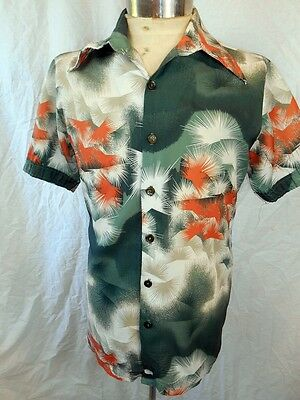 Vintage 70s Short Sleeve Polyester Green Orange Abstract Party Festival Shirt M