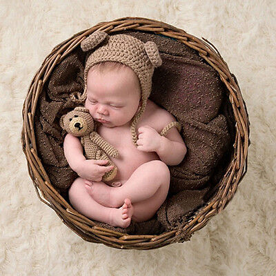 Newborn Baby Girls Boys Knit Bear hat Photo Photography Prop Outfits