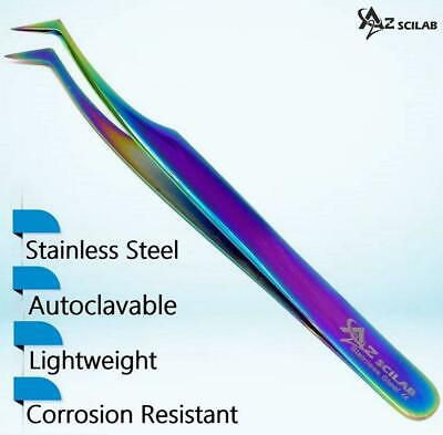 Stainless Steel Multi Rainbow Color 3D Eyelash Extension Tweezers Semi Angled