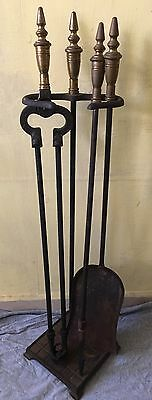 Vintage Fireplace Tools: 3-Pieces, Iron And Brass; With Stand
