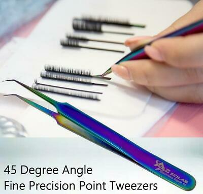 Stainless Steel Multi Rainbow Color 3D Eyelash Extension Tweezers Point Angled