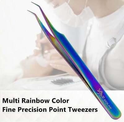 Stainless Steel Multi Rainbow Color 3D Eyelash Extension Tweezers 45 Deg Angled