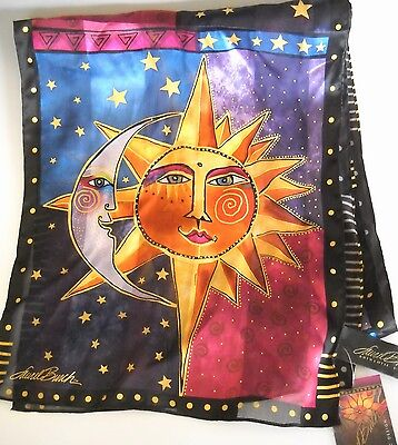 Laurel Burch LBS189 SUN AND MOON 100% Silk Scarf NWT