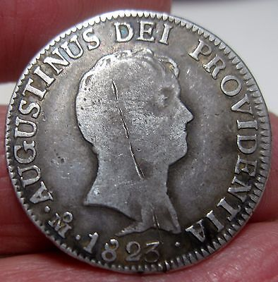 1823 JM (MEXICO) 2 REALES (ITURBIDE) SILVER VERY SCARCE YEAR (2 year type coin)-