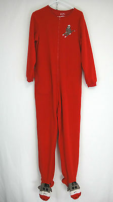 Nick and Nora Sock Monkey Sleepwear One Piece Footed Pajama Adult Size M Red