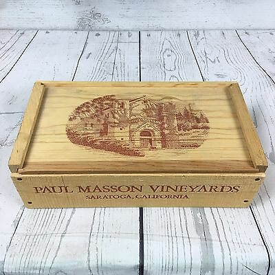 Paul Masson Vineyards Embossed Wooden Sliding Lid Wine Box Saratoga California