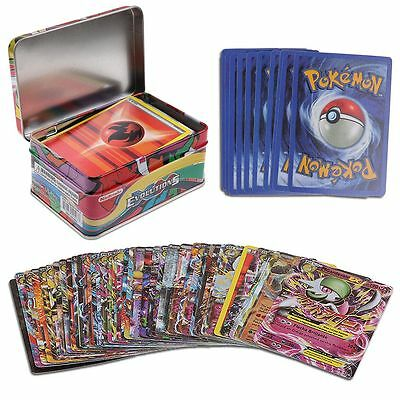 42PCS Pokemon Cards Trading Card Game in Metal Box Kids Gift Toy New