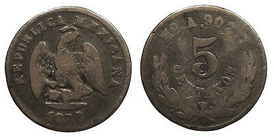MEXICO 1878-Ho A 5 Centavos About Fine