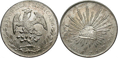 MEXICO: 1890 ZS FZ 8 Reales #WC69529