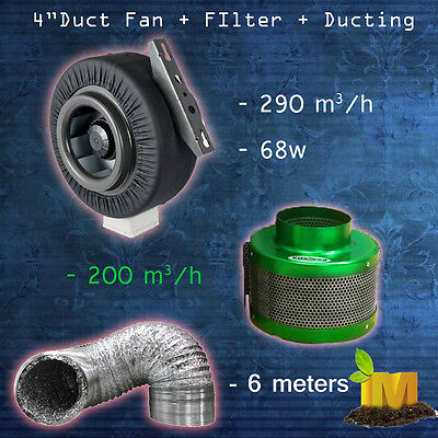 "4"" 100mm Exhaust Centrifugal Fan Carbon Filter Ducting Hydroponics Ventialtion"