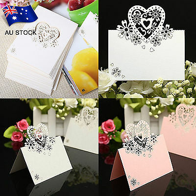 AU STOCK 10pcs Wedding Party Table Name Place Cards  Love Heart Laser Cut Design