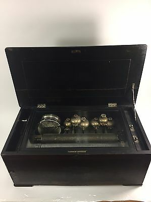 Rare Antique Victorian Swiss Cylinder Bell And Drum Music Box With 6 Bells!